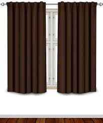 Chocolate Brown And Blue Curtains Amazon Com Blackout Room Darkening Curtains Window Panel Drapes