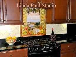Kitchen Tile Backsplash Murals by Sunflowers Vineyard Backsplash Tile Mural For Country Kitchens