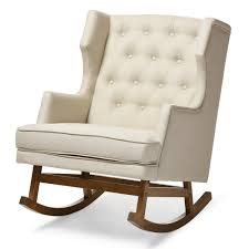 Rocking The Chair Baxton Studio Iona Mid Century Retro Modern Light Beige Fabric