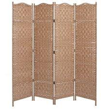 folding wood partition 4 panel portable room divider wall canvas