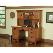 Home Office Desk With Hutch Arts Crafts Pedestal Desk And Hutch Cottage Oak Finish Homestyles