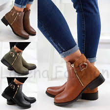 womens flat ankle boots uk s boots ebay