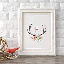 initial home decor antler initial f single letter monogram printable wall art prints