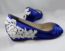 wedding shoes royal blue blue wedding shoes wedge 1 wedge heels by thecrystalslipper the