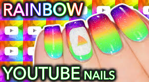 rainbow youtube play button nail art youtube