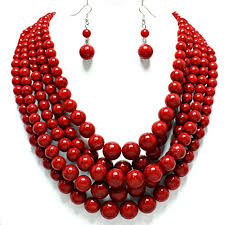 beaded red necklace images Statement beaded layered strands red simulated stone jpg