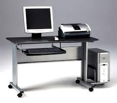 Computer Workstation Desk Sightly Rectangle Black Iron Mobile Computer Desk Transparent