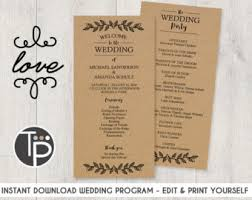 kraft paper wedding programs wedding program template instant burgundy wedding