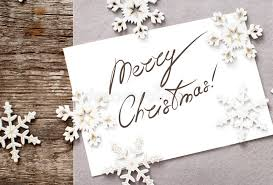 card with message merry on the stock image