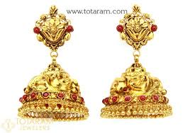 gold jhumka earrings design with price temple jewellery 22k gold jhumkas 22k gold dangle earrings