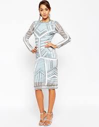 asos red carpet beaded midi body conscious dress in blue lyst