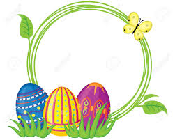 greeting frame with easter eggs and grass royalty free cliparts