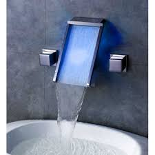 waterfall wall mount bathroom sink faucet with led glass