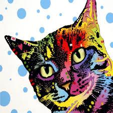 pop art cat kitten colorful funny kitty pet play 2 side pillow