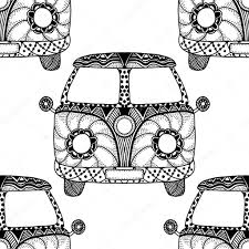 hippie van drawing seamless pattern of vintage car u2014 stock vector frescomovie