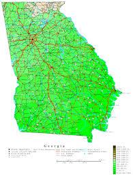 Ga Counties Map Georgia Contour Map