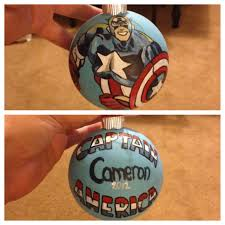 my hand painted captain america christmas tree ornament