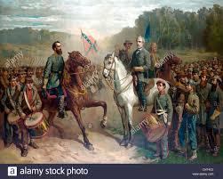 vintage civil war color painting of general robert e lee and general thomas stonewall jackson on horseback