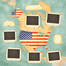 Vintage United States Map by Vintage Photo Frames On The Background With The Vintage Map Of