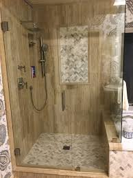 mixed quartz herringbone mosaic shower floors walls pebble