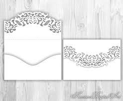 wedding invitation pocket envelope 5x7 svg template lace fold