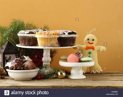 christmas dessert buffet christmas dessert buffet muffins cookies macaroon on a wooden
