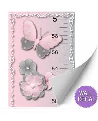 girls pink gray growth chart decorative wall sticker height baby girls growth chart height measure wall decal