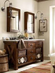benchwright double sink console rustic mahogany finish pottery