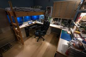 u shaped gaming desk london penthouse loft timber cathedral style ceilings and exposed