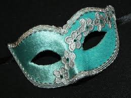 masquerade mask in aqua and silver with velvet and lace