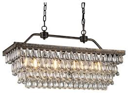 Antique Chandeliers Sydney Amanda Antique Style Copper 4 Light Rectangular Crystal Chandelier