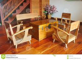 Asian Wooden Floor A Teak Wood Console Table And Armchair On Wooden Floor Stock