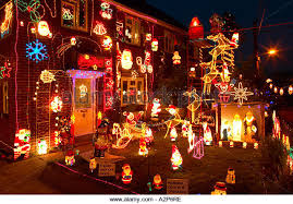 Christmas Decorations For The Outside by Christmas Lights Decorations Outside House Stock Photos