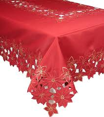 festive poinsettia embroidered cutwork tablecloth
