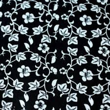 black and white fabric pattern style white small flower black pattern cotton plain cloth fabric