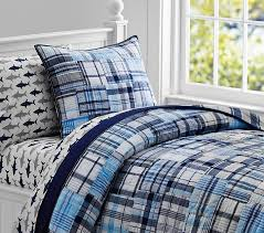 Blue Quilted Coverlet Madras Quilt Aqua Pottery Barn Kids