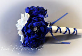 wedding flowers royal blue 7 royal blue and white fabric flower wedding bouquet
