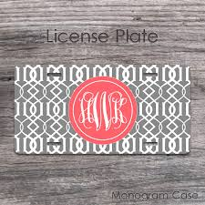 style moroccan pattern coral monogram car tag monogramcase