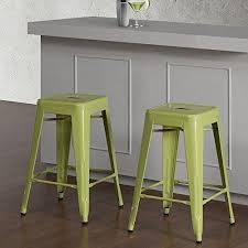 Lime Green Bar Stool Set Of 2 Lime Green Tolix Style Metal Counter Stools In Glossy