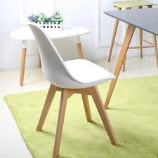 eggree set of 4 dining room chair with cushion solid wood feet