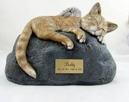 cat cremation custom order ceramic engraved painted bottom loading cat cremation