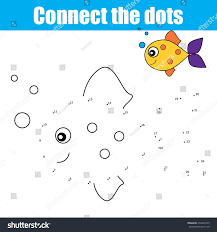 connect dots by numbers educational drawing stock vector 450249745