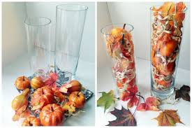 diy fall decorating ideas tall glass vases faux pumpkins leaves