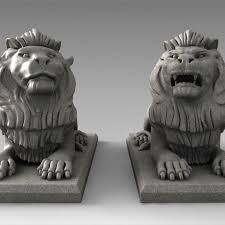 lions statues 3d models two lions statues cgtrader