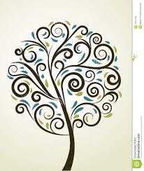 decorative swirl floral tree vector stock vector image 12261106