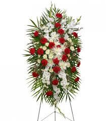 graceful white standing spray of funeral flowers in la porte