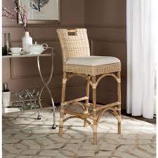cushioned bar stool safavieh fremont 29 92 in natural cushioned bar stool fox6532a