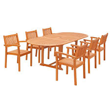 vifah eco friendly 7 piece wood outdoor dining set with oval