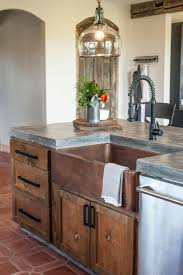 sinks concrete countertop cottage style kitchen copper tile in concrete countertop cottage style kitchen copper tile in sink brown ceramic tile black kitchen faucet