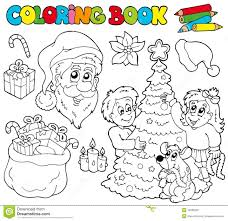 coloring book with christmas theme royalty free stock photo